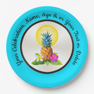 Personalized Hawaiian Paper Plates, Any Occasion Paper Plate