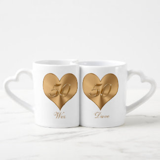 PERSONALIZED Heart Golden 50th Anniversary Mug Set
