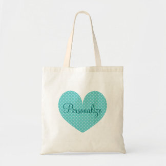 Personalized heart polka dots pattern tote bag