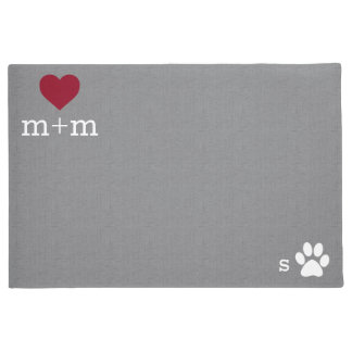 Personalized Heart Welcome Grey Pet Mat