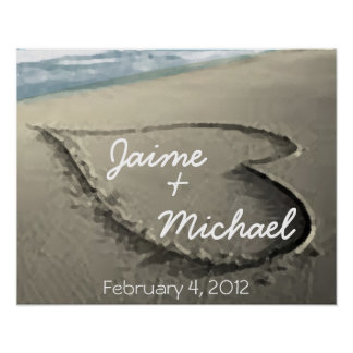 Personalized Hearts in the Sand Wedding Gift Poster