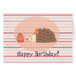 Personalized Hedgehog and Cupcake Card