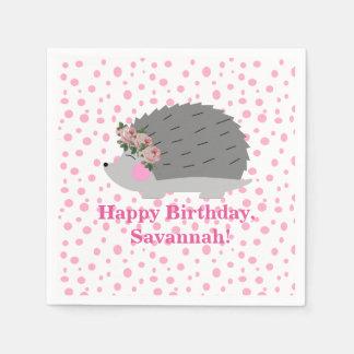 Personalized Hedgehog Birthday Napkin Paper Napkin