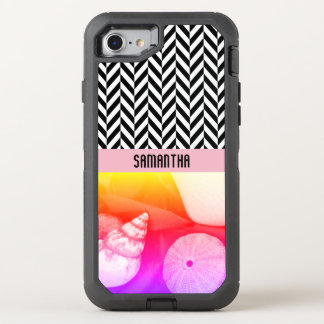 Personalized Herringbone Sea Shell Colors - OtterBox Defender iPhone 8/7 Case