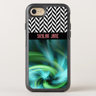 Personalized Herringbone Turquoise Colors - OtterBox Symmetry iPhone 7 Case