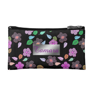 Personalized Hibiscus Floral Print Cosmetic Bag