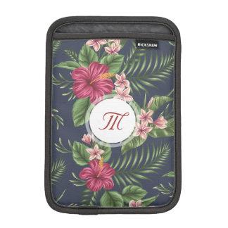 Personalized Hibiscus Flower Monogram iPad Sleeve