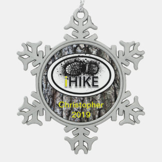 "Personalized Hiking ""iHIKE"" Tree Bark Ornamet Pewter Snowflake Decoration"
