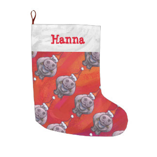 Personalized Hippo in Santa Hat Pattern on Red