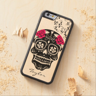 Personalized Hipster Black & Hot Pink Sugar Skull Maple iPhone 6 Bumper Case