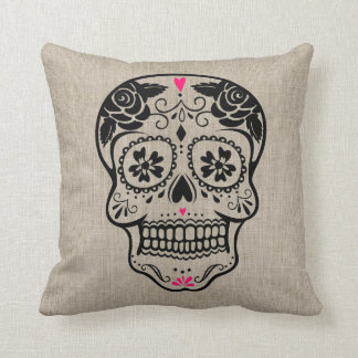 Personalized Hipster Sugar Skull Cushion
