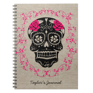Personalized Hipster Sugar Skull Spiral Notebook