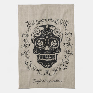 Personalized Hipster Sugar Skull Tea Towel