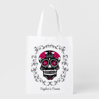 Personalized Hipster Sugar Skull Trick or Treat Reusable Grocery Bag
