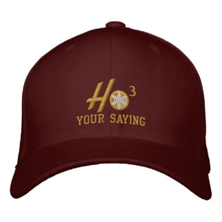 Personalized Ho Ho Ho Snowflake Golden Embroidered Hat