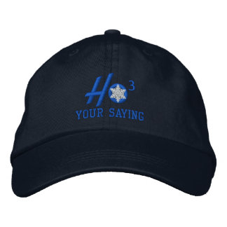 Personalized Ho Ho Ho Snowflake in Blue Embroidered Baseball Cap