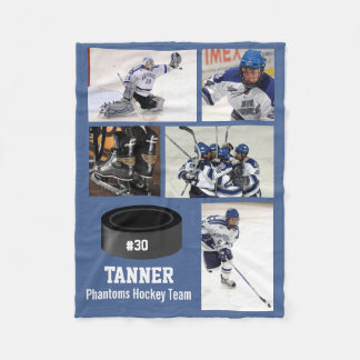 Personalized Hockey 5 Photo Collage Name Team # Fleece Blanket
