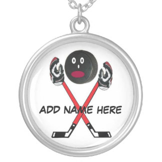Personalized Hockey Cartoon Silver Plated Necklace