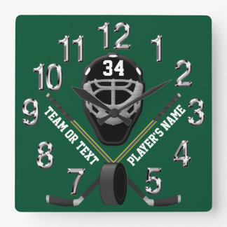 Personalized Hockey Clock, Your COLORS and TEXT Square Wall Clock