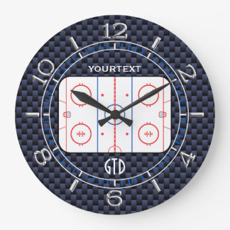 Personalized Hockey Rink Diagram Blue Carbon Style Large Clock