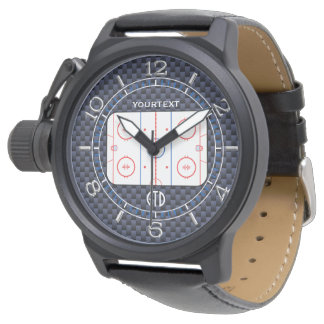 Personalized Hockey Rink Diagram Blue Carbon Style Watch