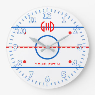 Personalized Hockey Rink Diagram on a Large Clock