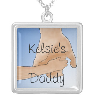 "Personalized  Holding Hands ""Daddy"" Necklace"