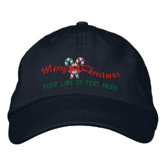 Personalized Holiday Greetings Candy Canes Embroidered Hat