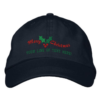 Personalized Holiday Greetings Embroidered Cap