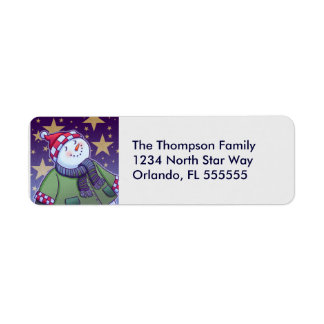 Personalized Holiday Snowman Return Address Labels