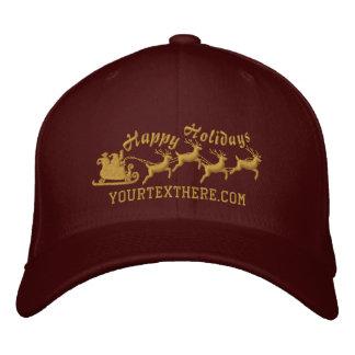 Personalized Holidays Santa Sleigh Ride Scene Embroidered Baseball Cap