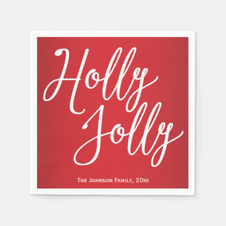 Personalized Holly Jolly Christmas Paper Napkins