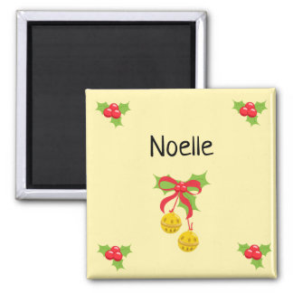 Personalized Holly Leaves & Bells Magnet