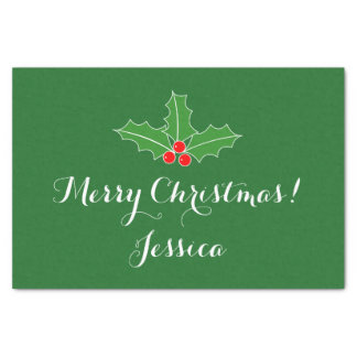 Personalized holly leaves Christmas tissue paper