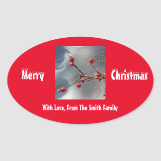 Personalized Holly Oval Sticker