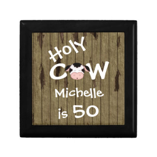 Personalized Holy Cow 50th Birthday Jewelry Box