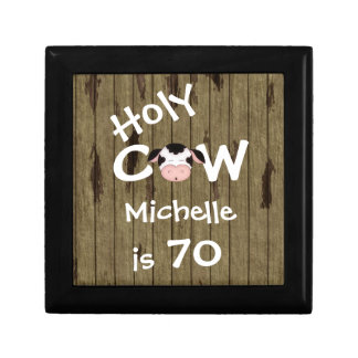 Personalized Holy Cow 70th Birthday Jewelry Box