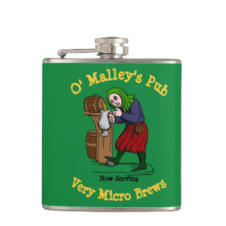 Personalized Home Brewer Pub Logo Hip Flask