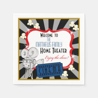 Personalized Home Theater Movie Napkins Paper Napkins