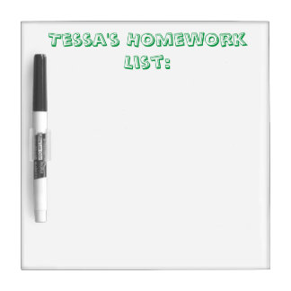 Personalized Homework List Dry Erase Board