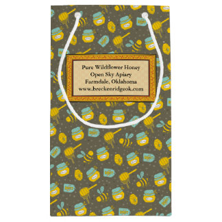 Personalized Honey Dipper Pattern Labeled Small Gift Bag