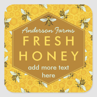 Personalized Honey Jar Label Bees and Honeycomb Square Sticker