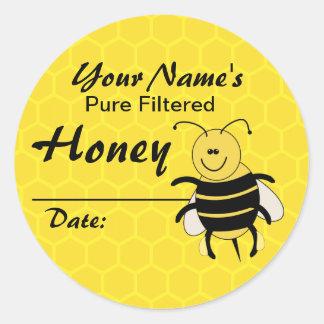 Personalized Honey Label Cartoon Bee Round Sticker