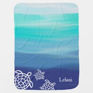 Personalized Honu Sea Turtles Ocean Waters Baby Blanket