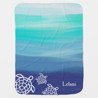 Personalized Honu Sea Turtles Ocean Waters Buggy Blanket