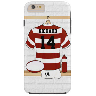 Personalized Hooped Rugby Jersey in Locker Room Tough iPhone 6 Plus Case