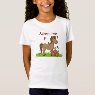 Personalized Horse and Pumpkins T-Shirt for Girls