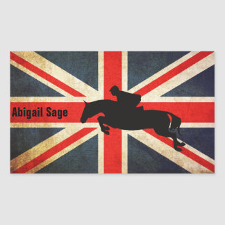 Personalized Horse Jumper Union Jack Flag Stickers