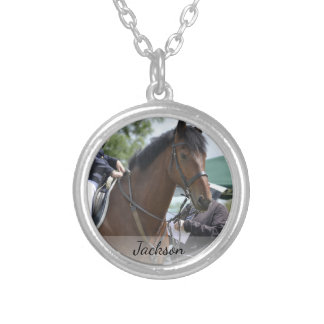 Personalized Horse Riding Equestrian Photo & Name Silver Plated Necklace
