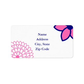 Personalized Hot Pink and Navy Blue Modern Floral Address Label